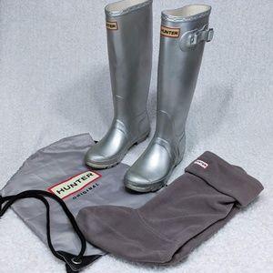 Hunter Original Tall Rain Boots Bundle Bag Socks